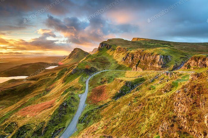 Dramatic sunrise sky over the Quiraing