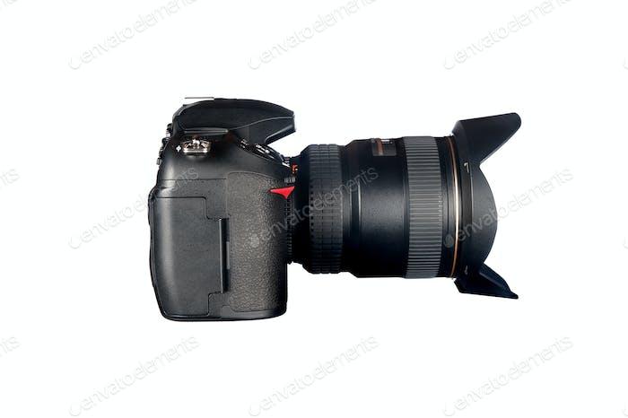 DSLR camera on white
