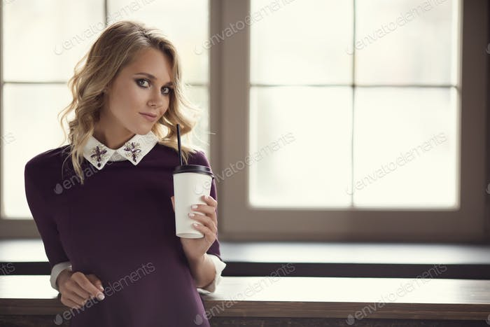 Charming Woman At Home. Coffee Time.