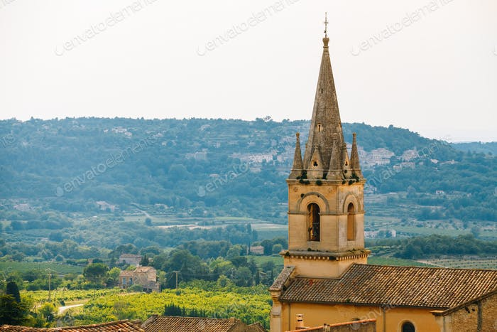 Medieval Beautiful Parish Church In Bonnieux Village, Provence,