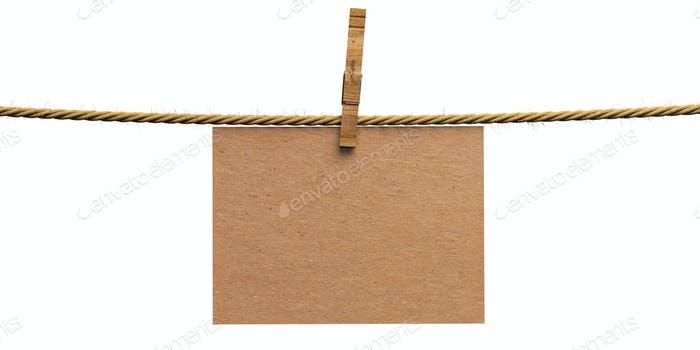 Empty tag on rope with wooden clothespin isolated cutout on white background. 3d illustration
