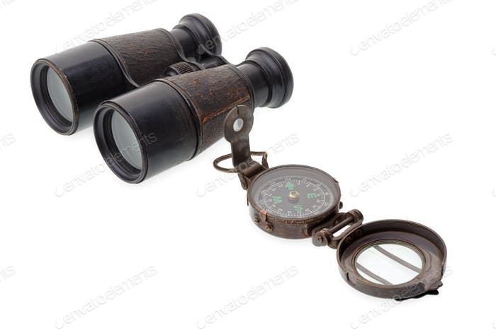 Old compass and binocular