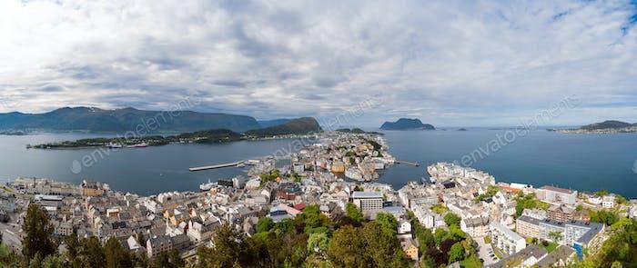 Aksla at the city of Alesund , Norway panorama