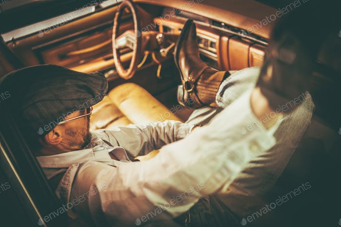 Retro Classic Car Driver