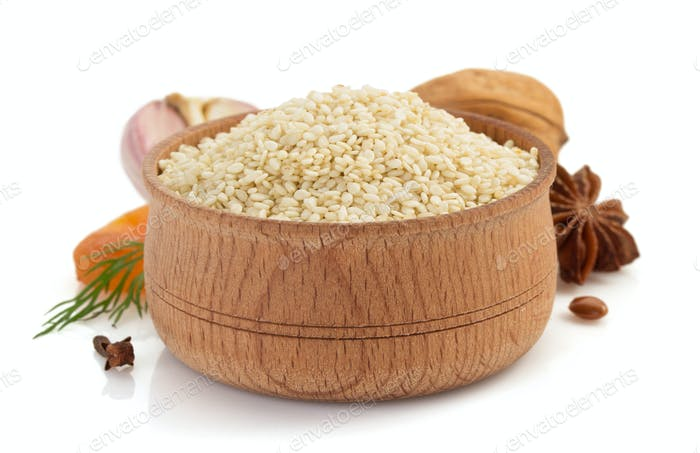 sesame seed on white background