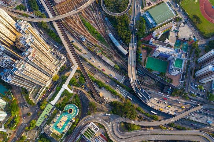 Choi Hung, Hong Kong 25 April 2019: Drone fly over Hong Kong city