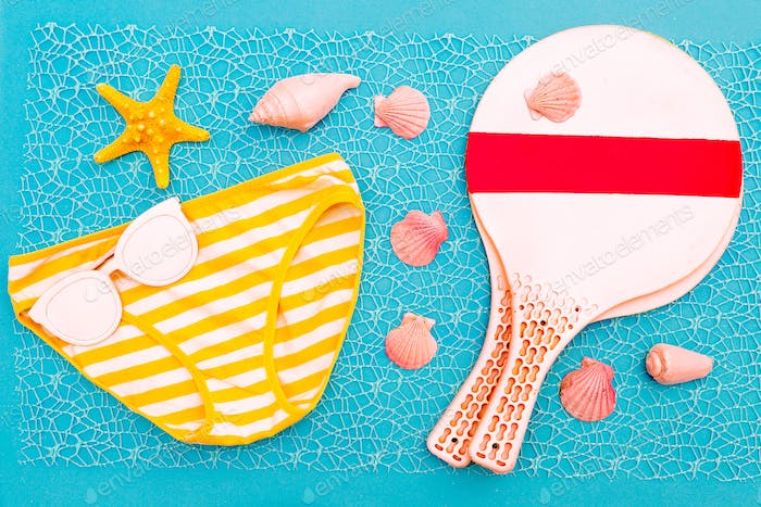 Beach Time. Beach badminton. Vacation set minimal design
