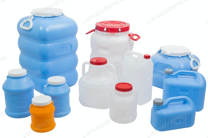 Plastic cans and barrels for water on a white isolated background