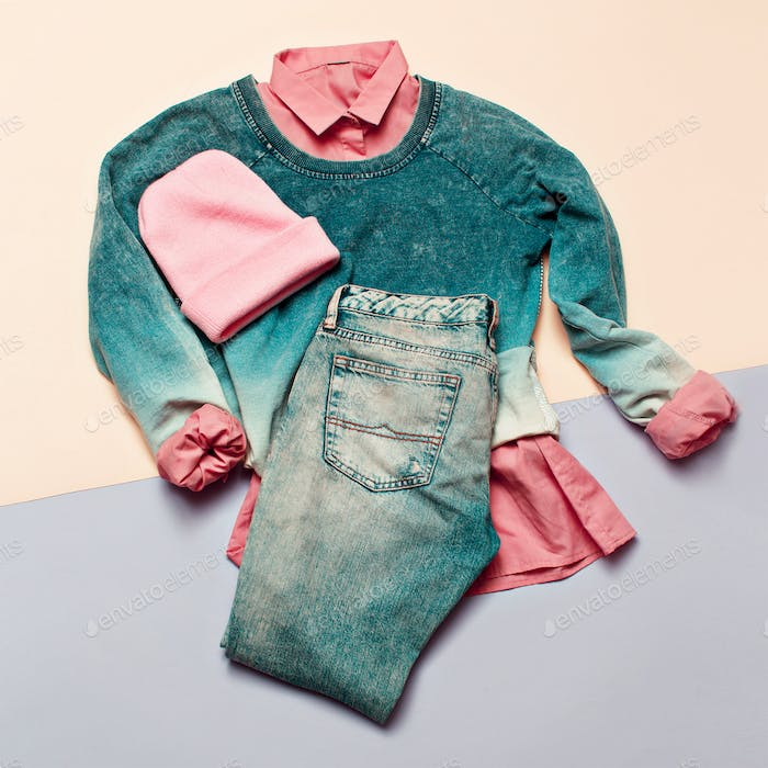 Fashion woman accessories set. Vanilla Lady. jeans, Sweater Bean