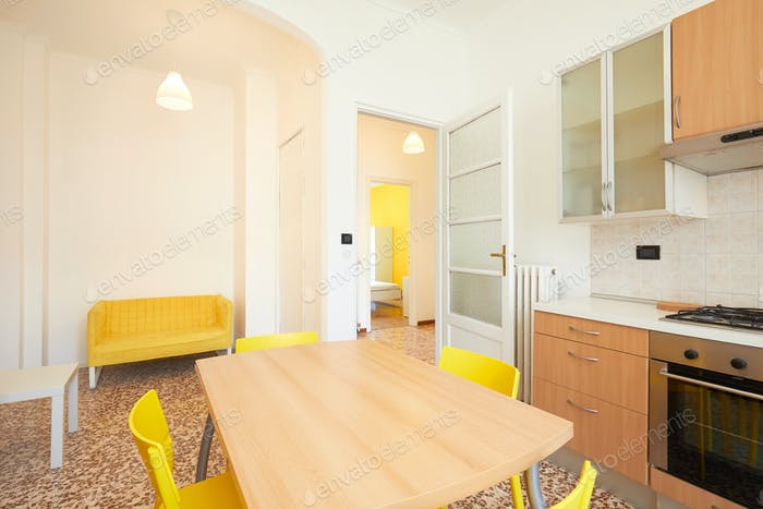White kitchen interior in renovated, spacious apartment for rent