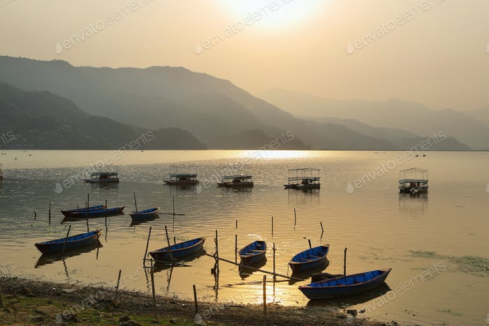 Thumbnail for Fewa lake at sunset in Pokhara