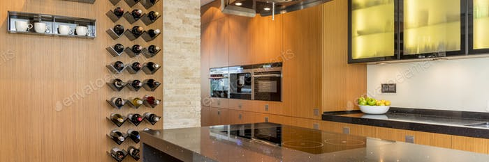 Kitchen cabinet with led lighting