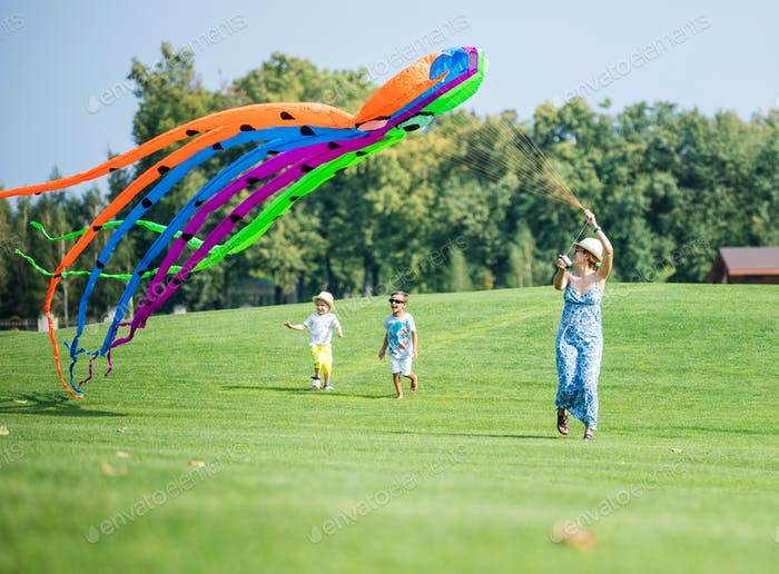 Mother and two sons flying kite together on green field