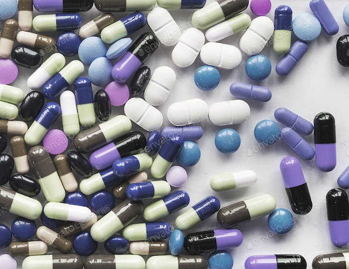 Aerial view of various medical pills pharmaceutical