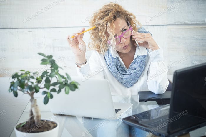 Modern technology job people - adult caucasian woman
