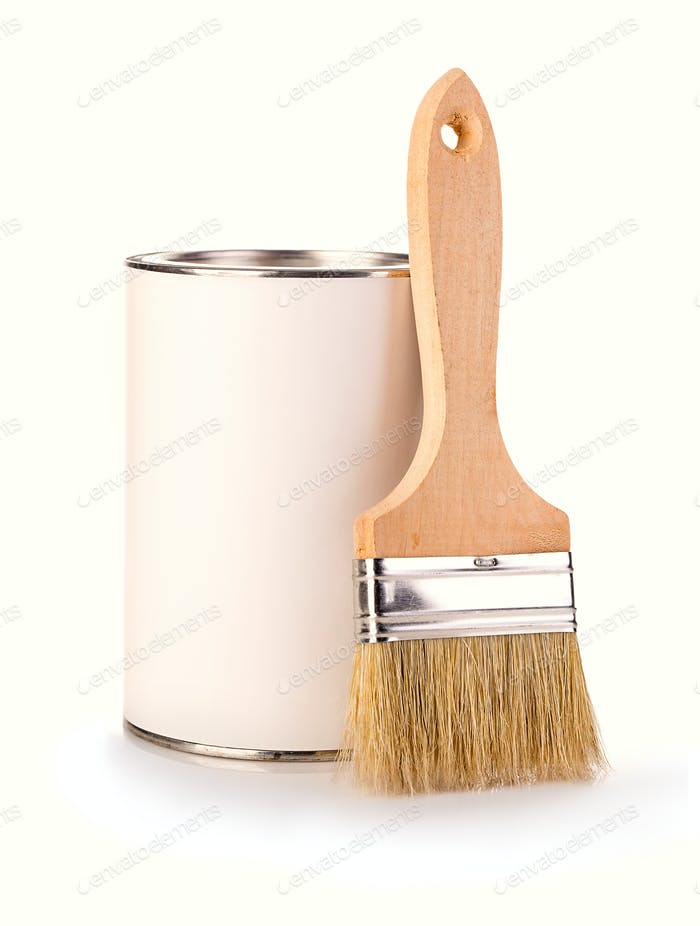 Iron can with paint and brush isolated on a white background.