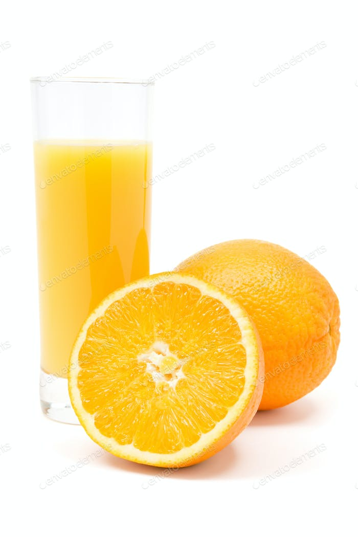 Fresh Orange Juice Isolated on a White Background