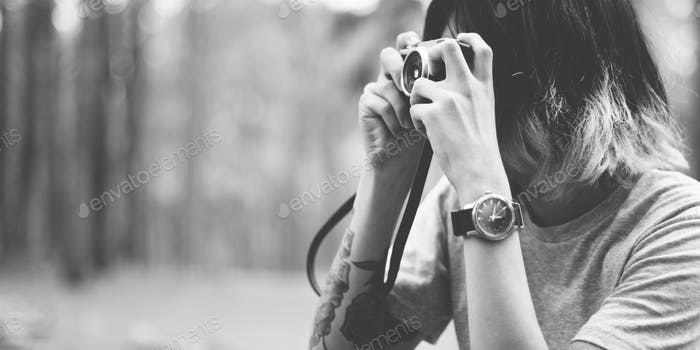 Thumbnail for Photographer Camera Man Shooting Woods Nature Concept