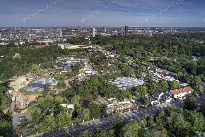 Aerial view of Copenhagen Zoo located in Frederiksberg, Denmark