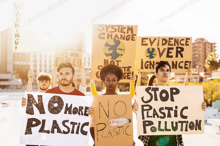 Group demonstrators protesting against plastic pollution and climate change