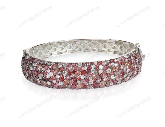Ruby and diamond gemstone bangle