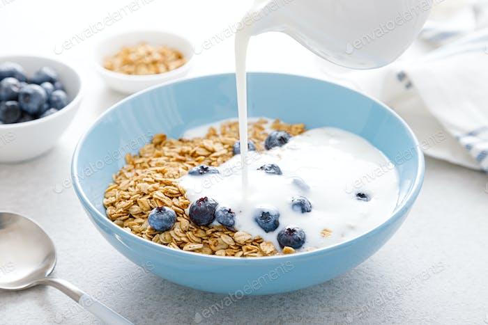 Granola con yogur y arándano