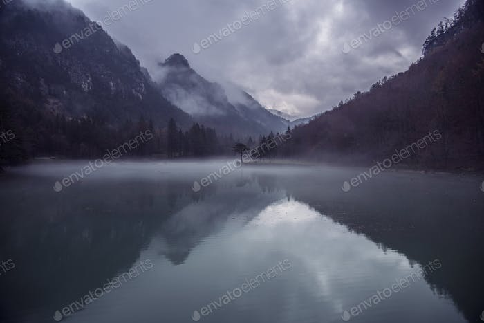 Dark forest and hills reflection