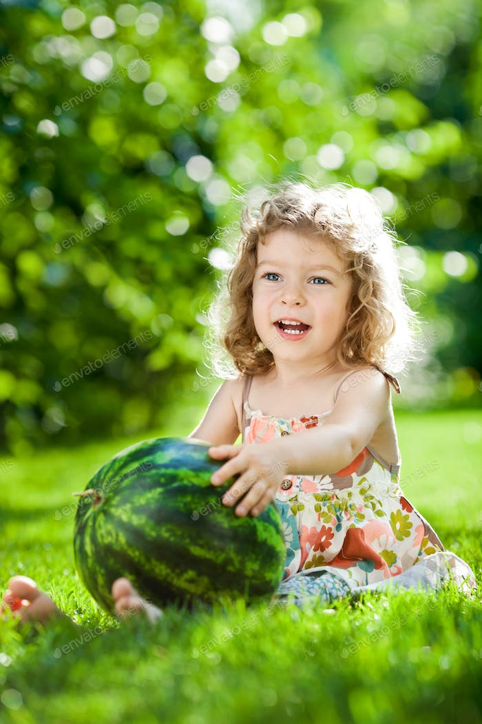 Child having picnic outdoors