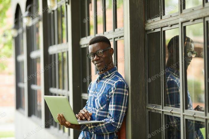 African-American Student Posing Outdoors