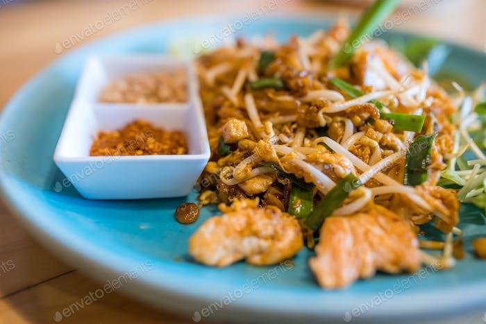 Delicious thai cuisine pad thai