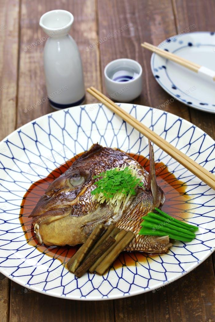 simmered sea bream head, japanese cuisine