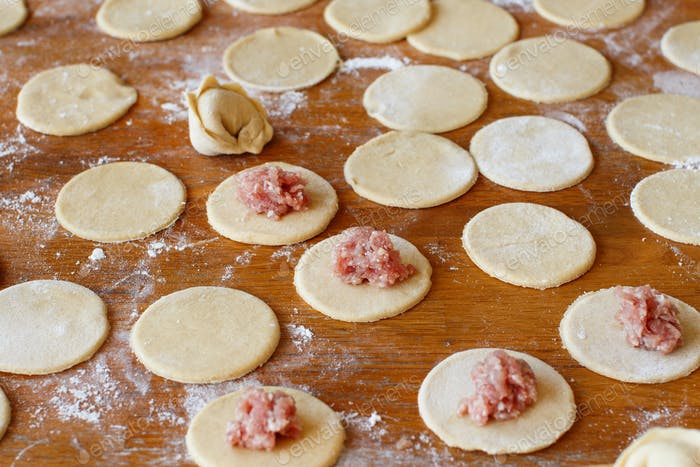 Preparation of pelmeni, ravioli, dumplings