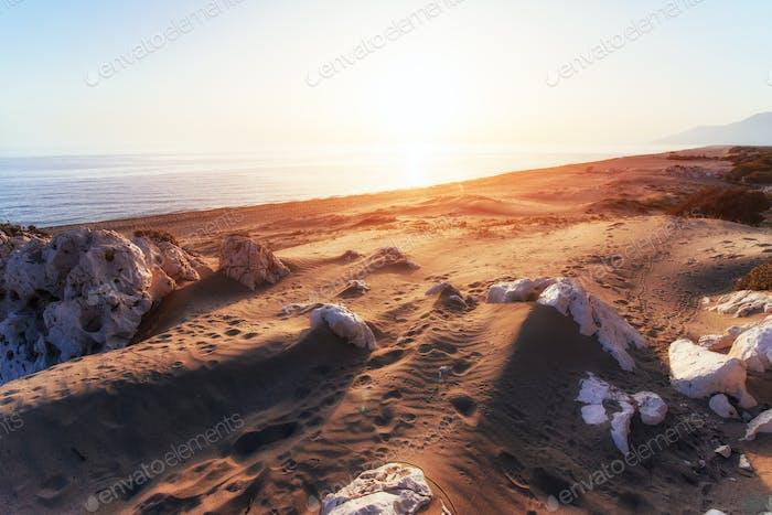 Empty beach on the Turkish coast. Turkey