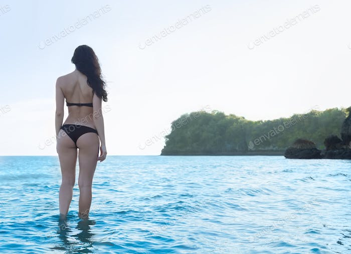 Woman Beach Summer Vacation, Young Girl Stand In Water Back Rear View