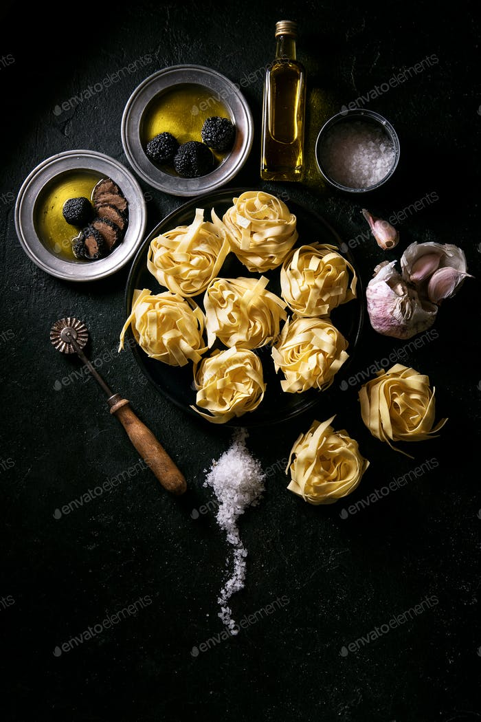 Egg pasta served with truffles