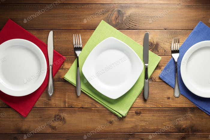 plate, knife and fork on table napkin