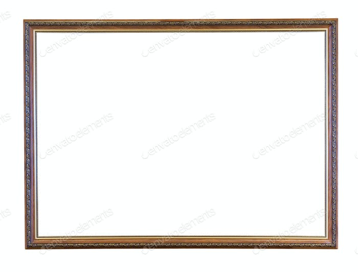 vintage narrow brown wooden picture frame