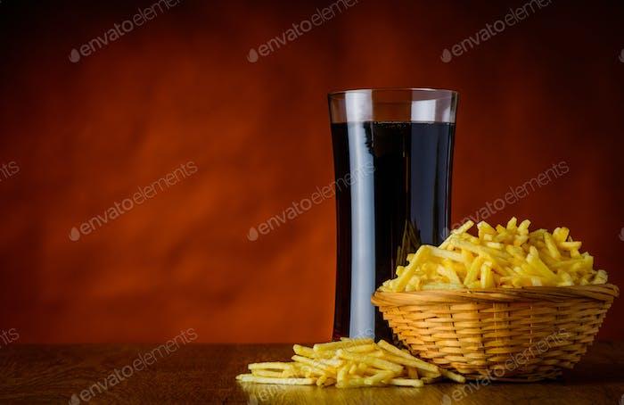 Cola and Salty Potato Sticks