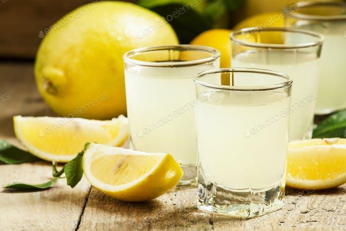 Traditional homemade lemon liqueur limoncello and fresh citrus
