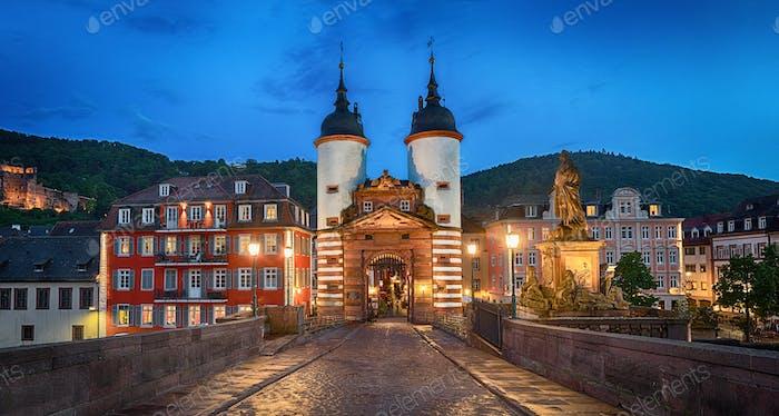 Illuminated Old Bridge Gate in Heidelberg, Germany