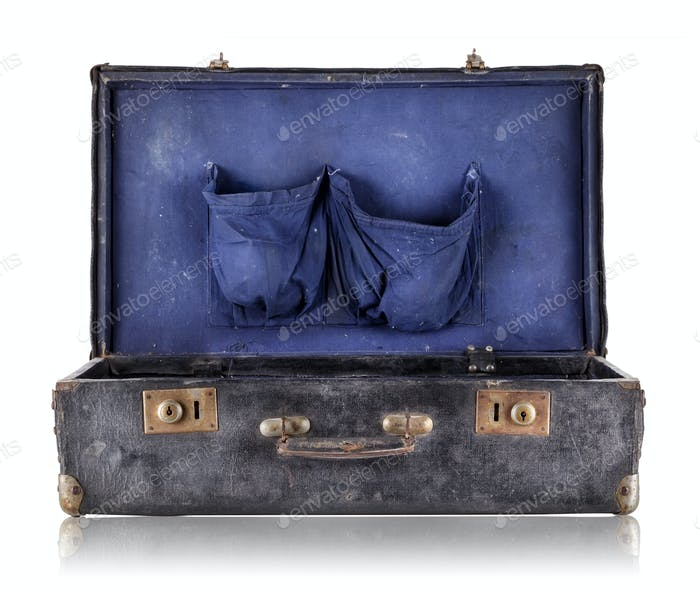 Open old suitcase with blue upholstery inside