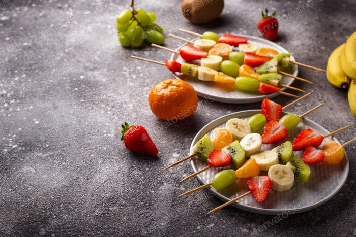 Fruit skewers, healthy summer snack