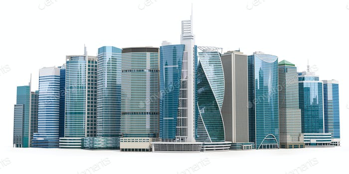 Skyscrapers of downtown. City skyline isolated on white background.