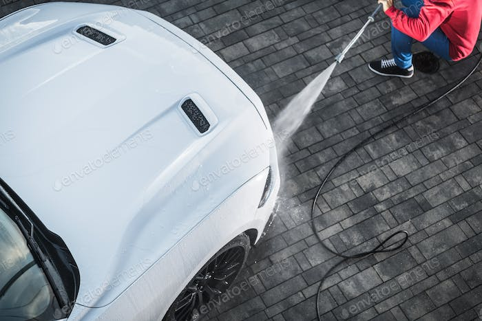 Car Washing with Power Tool