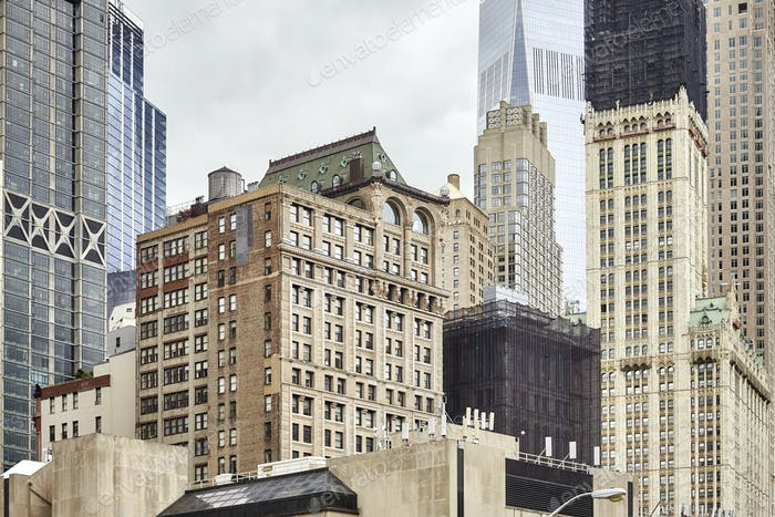 View of old and modern Manhattan buildings, New York.