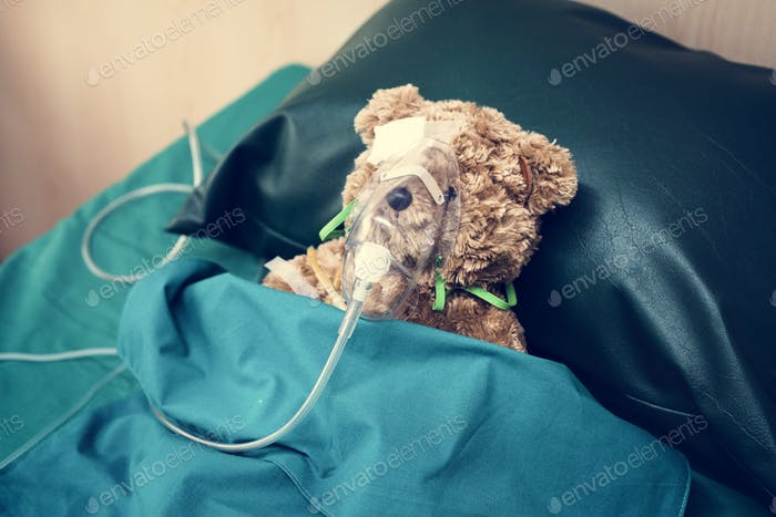 An injured teddy bear at the hospital