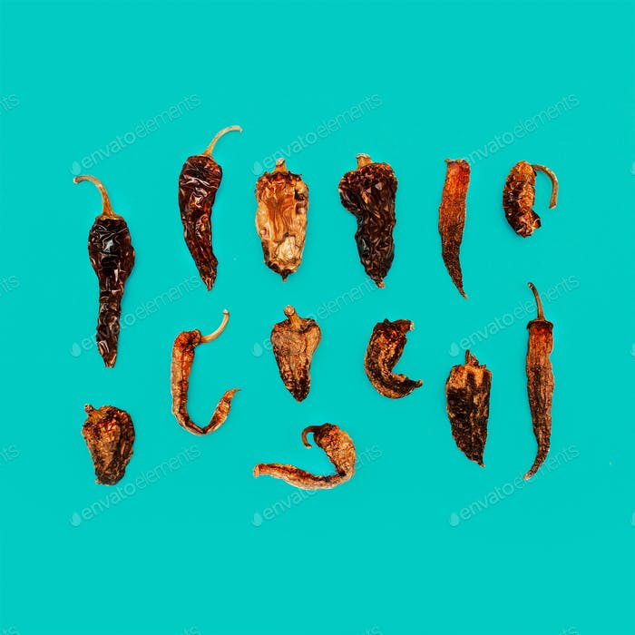 Zusammensetzung Getrocknete Paprika. Minimales Kunstdesign