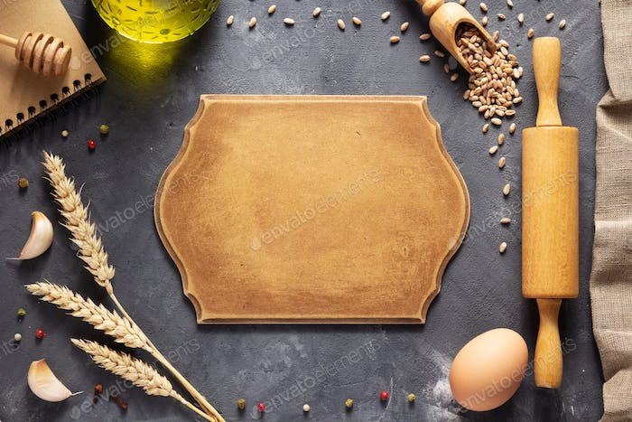 Bakery ingredients for homemade bread baking on table