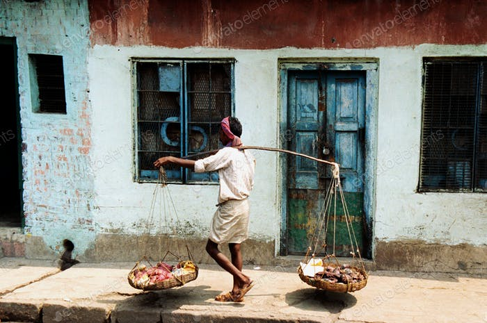 Indian Man Going to Market