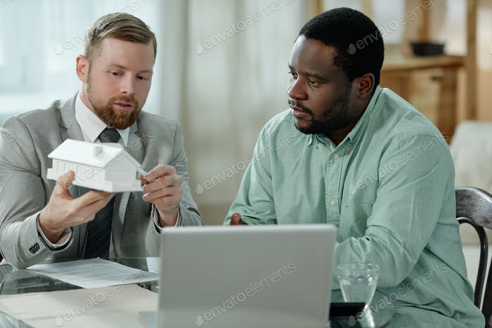 Man having consultation of adviser
